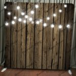 Dark Wood with String Lights Backdrop