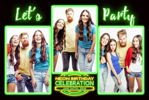 Neon Lets Party Photo Layout