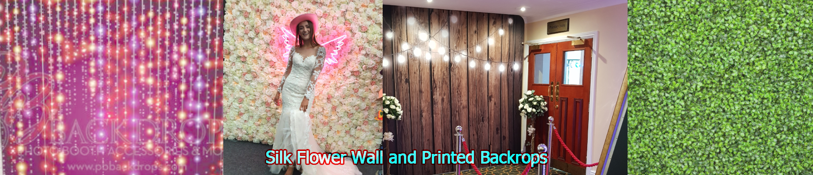 Silk Flower Wall and Printed Backdrop Hire
